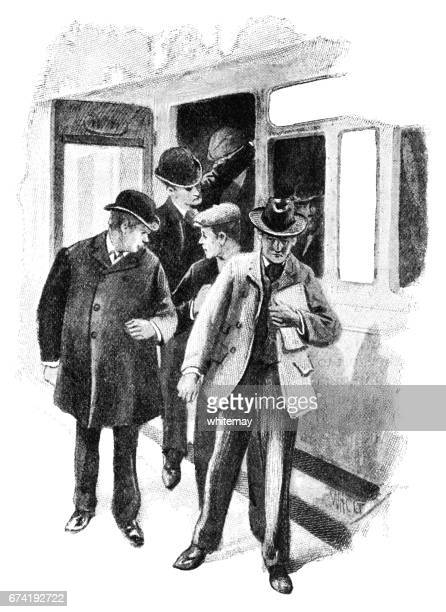Victorian men getting out of a train carriage