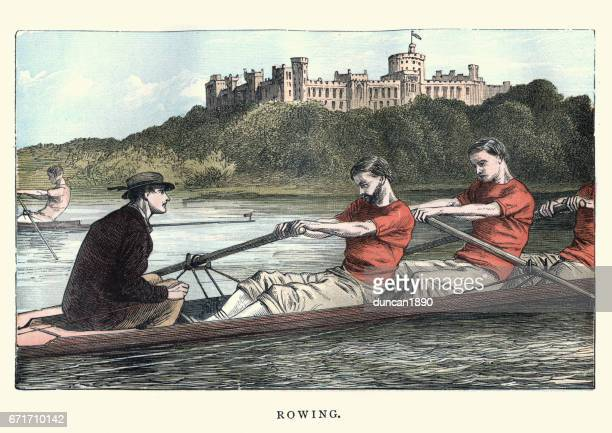 Victorian men rowing on the Thames, 19th Century