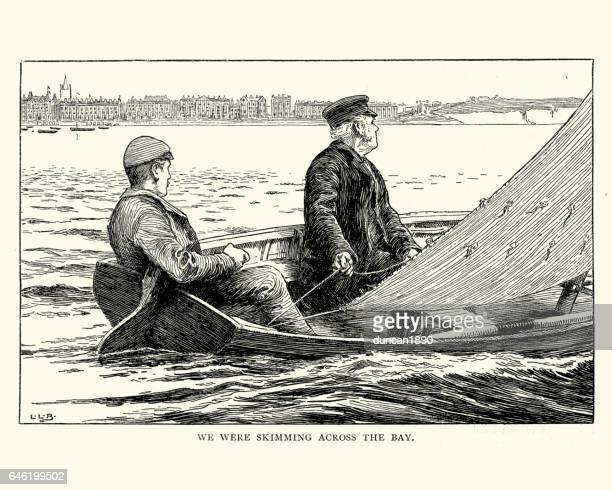 victorian men sailing across a bay in a small boat - harrow agricultural equipment stock illustrations, clip art, cartoons, & icons