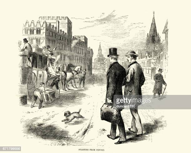 Victorian men setting off from Oxford by Stagecoach