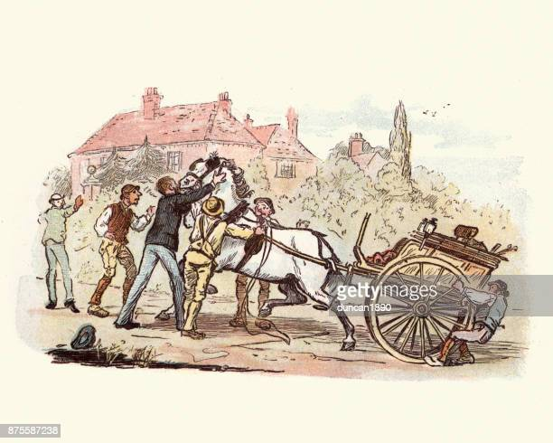victorian men struggling to control a horse and cart - runaway vehicle stock illustrations, clip art, cartoons, & icons