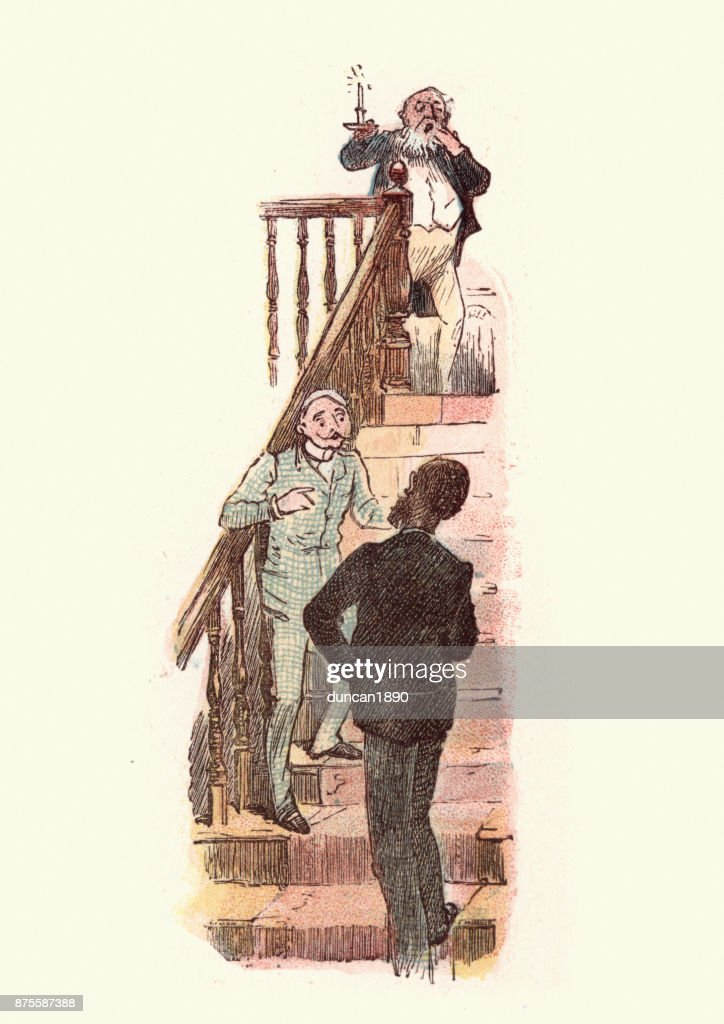 Victorian men talking on a staircase : stock illustration