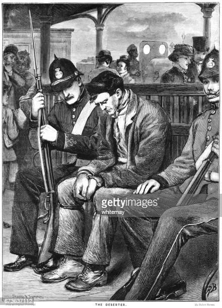 victorian military policemen escorting a deserter - 19th century stock illustrations, clip art, cartoons, & icons