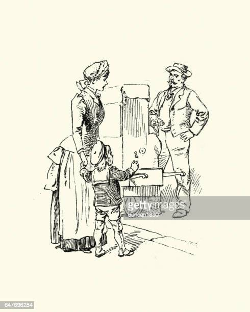 Victorian mother and child listening to a organ grinder