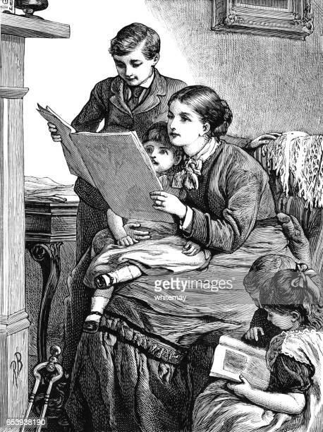 Victorian mother and children reading together
