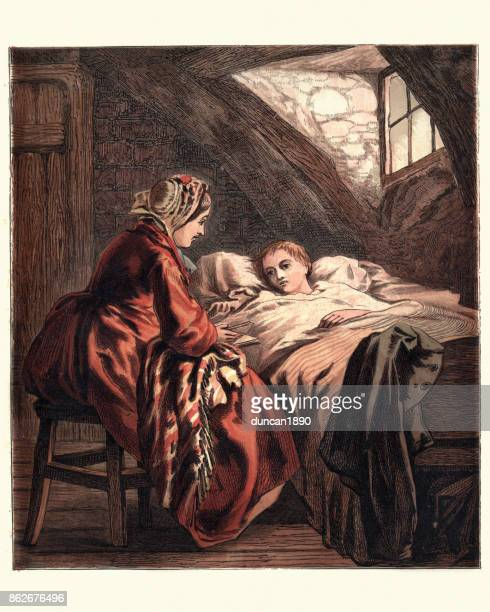 Victorian mother caring for her sick child, 1870