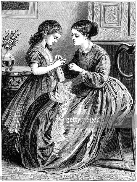 Victorian madre enseñanza su hija de tejido
