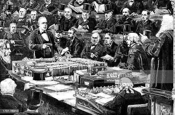 victorian mp taking an oath in the house of commons - 19th century style stock illustrations
