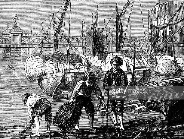 victorian mudlarks on the thames foreshore at low tide - scavenging stock illustrations