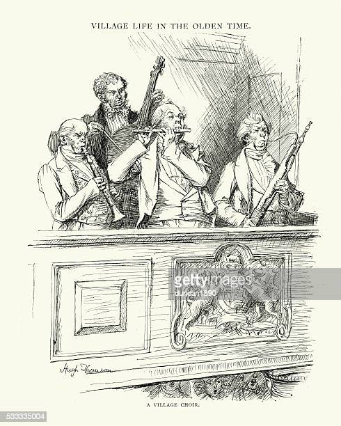 victorian musicians playing in a village choir - bass instrument stock illustrations, clip art, cartoons, & icons