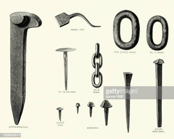 victorian nails and chains, 19th century - metal industry stock illustrations