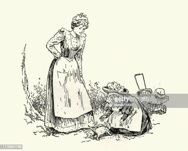 illustrations, cliparts, dessins animés et icônes de nounou victorienne, petite fille et chaton d'animal familier, 19ème siècle - assistante maternelle