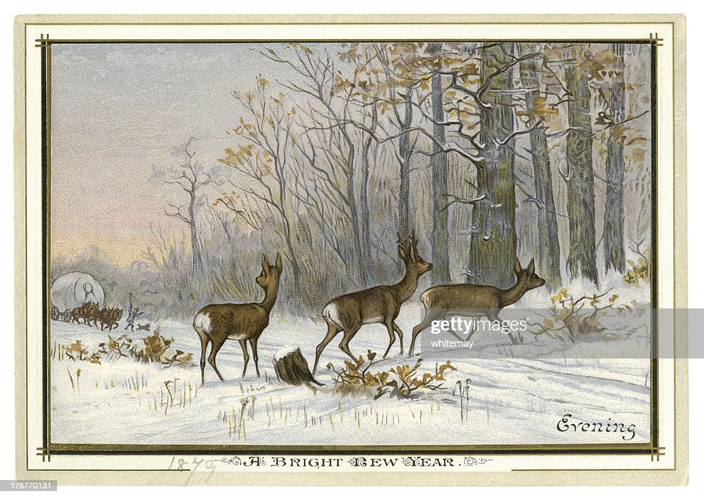 victorian new year card 1879 stock illustration