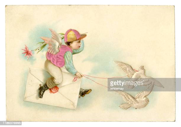 victorian new year card of a cherub jockey driving two doves, 1889 - dove bird stock illustrations