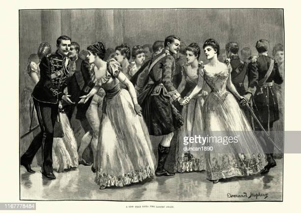 ビクトリア朝の新年のボール、女性の鎖を踊る、19世紀 - 1890~1899年点のイラスト素材/クリップアート素材/マンガ素材/アイコン素材