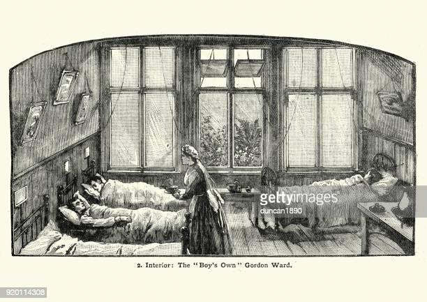 ilustraciones, imágenes clip art, dibujos animados e iconos de stock de victoriano de enfermera cuidando a los niños enfermos, hospital, calzada de stepney, londres - enfermera