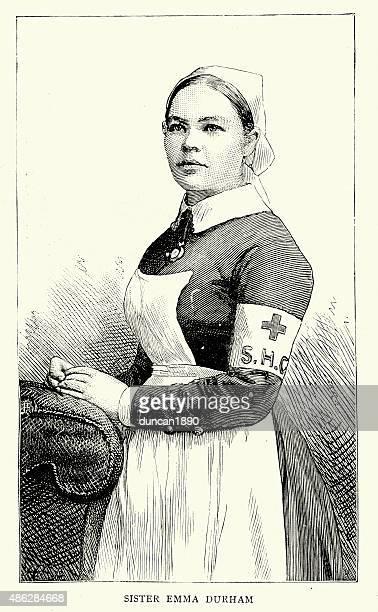 ilustraciones, imágenes clip art, dibujos animados e iconos de stock de victorian personal de enfermería emma durham destinatario de la royal cruz roja - enfermera