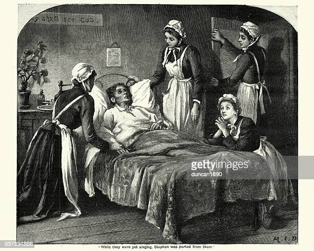 victorian nurses caring for a dying man - terminal illness stock illustrations, clip art, cartoons, & icons