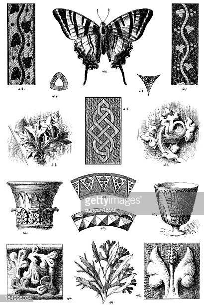 victorian ornamental art deisgn elements - embellishment stock illustrations
