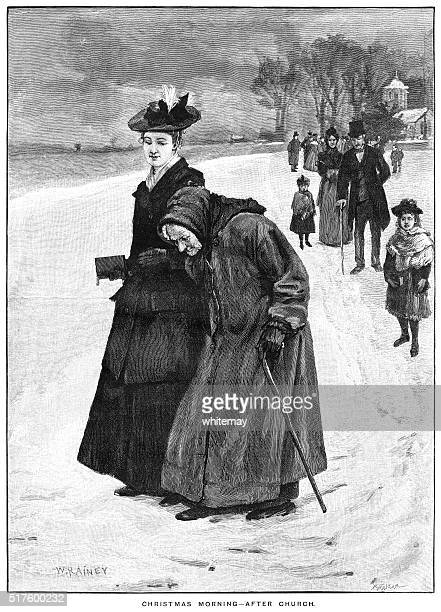 victorian people leaving church on a snowy christmas morning - bad posture stock illustrations, clip art, cartoons, & icons