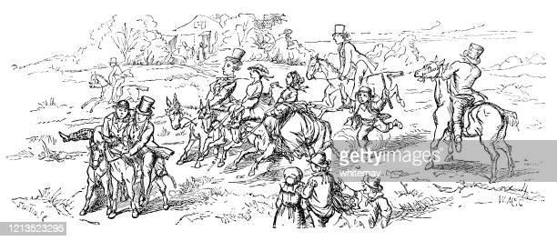 stockillustraties, clipart, cartoons en iconen met victoriaanse mensen die paarden op het platteland berijden - military
