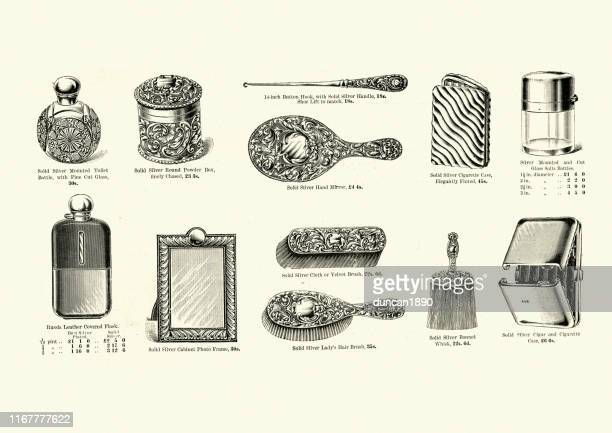 victorian personal accessories, combs, hairbrush, cigarette case, mirror - hand mirror stock illustrations