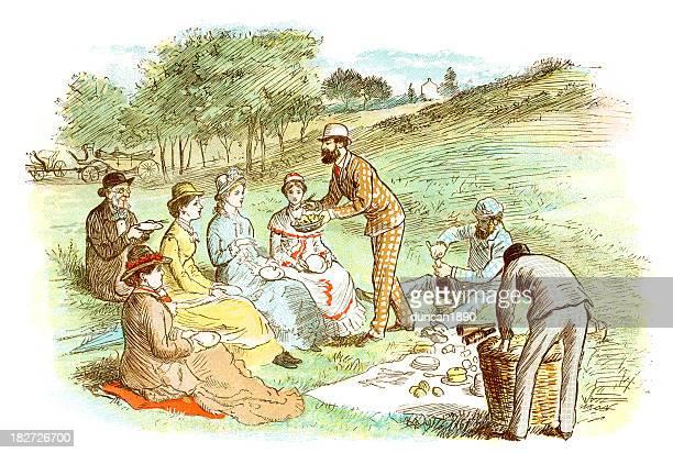 victorian picnic - british culture stock illustrations