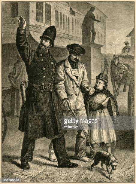 victorian policeman helping a blind man across the road - blindness stock illustrations, clip art, cartoons, & icons