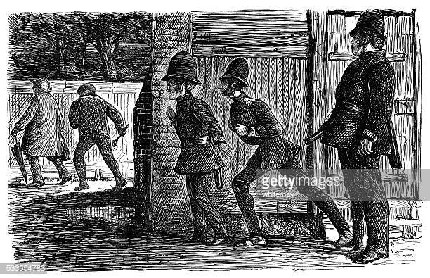 Victorian policemen creeping up on a thief