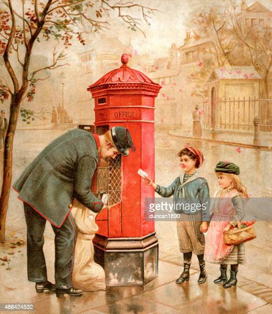 victorian postman and children posting a letter 1895 - post office stock illustrations, clip art, cartoons, & icons