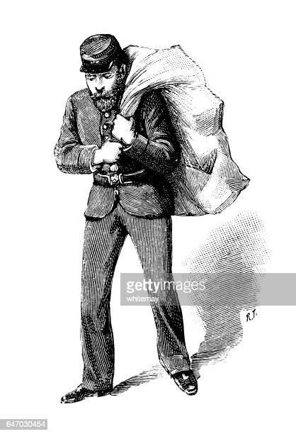 illustrations, cliparts, dessins animés et icônes de postman victorienne avec un sac chargé - facteur