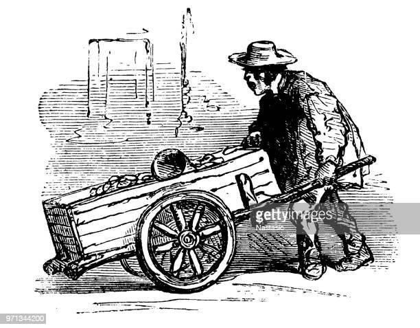 illustrations, cliparts, dessins animés et icônes de vendeur de victorien de pommes de terre - marchand