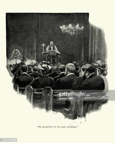 victorian priest giving a boring sermon 19th century - congregation stock illustrations