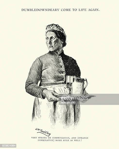 Victorian pub landlady with a tray of drinks