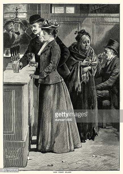 victorian pub young man and woman drinking at the bar - gin stock illustrations, clip art, cartoons, & icons
