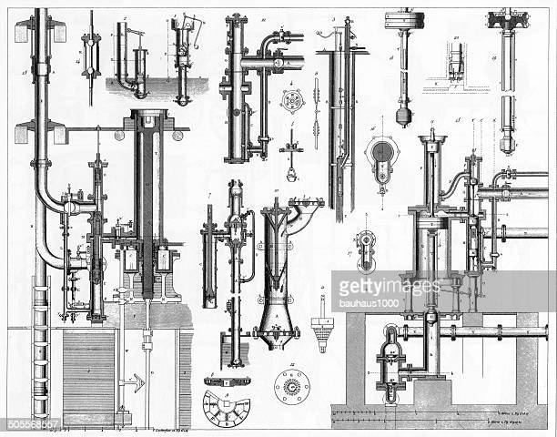 victorian pumping devices engraving - air valve stock illustrations, clip art, cartoons, & icons
