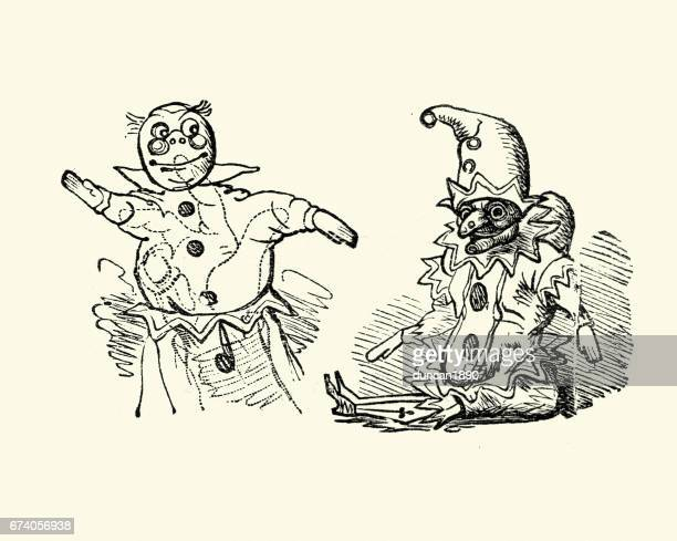 ilustraciones, imágenes clip art, dibujos animados e iconos de stock de victoriana de punch y judy títeres - puppet