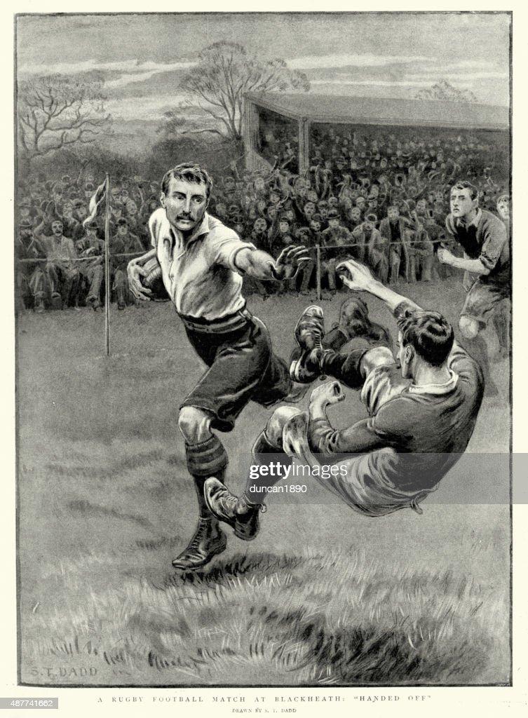 Victorian Rugby partido de fútbol en Blackheath, 1897 : Ilustración de stock