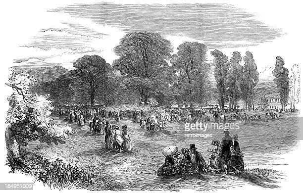 Victorian rural fete at Ham, South-west London (engraved illustration)