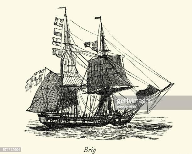 Victorian sailing Brig, 19th Century