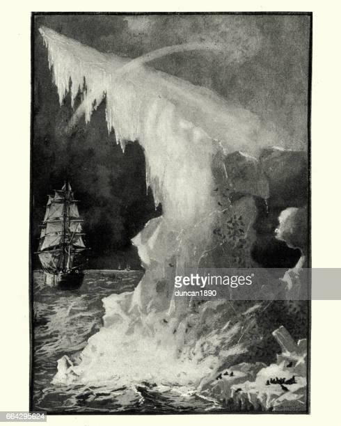victorian sailing ship exploring the far north - antarctica stock illustrations, clip art, cartoons, & icons