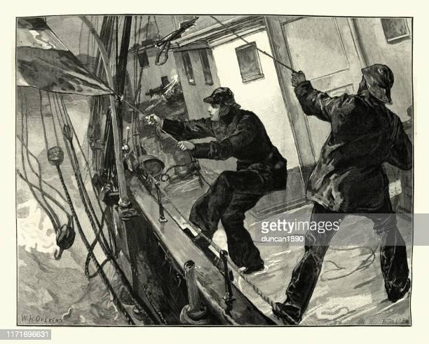 illustrations, cliparts, dessins animés et icônes de marins victoriens battant un drapeau en berne, 19ème siècle - voilier noir et blanc
