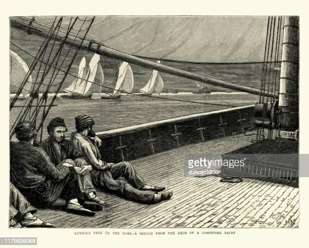 illustrations, cliparts, dessins animés et icônes de marins victoriens sur un yacht de course, le nore, 19ème siècle - voilier noir et blanc