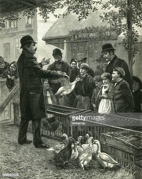 ilustraciones, imágenes clip art, dibujos animados e iconos de stock de victoriano vendedor venta de patos en navidad - puesto de mercado