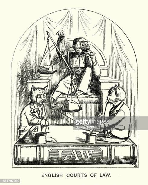 victorian satirical cartoon about judges, lawyers and the law - unfairness stock illustrations