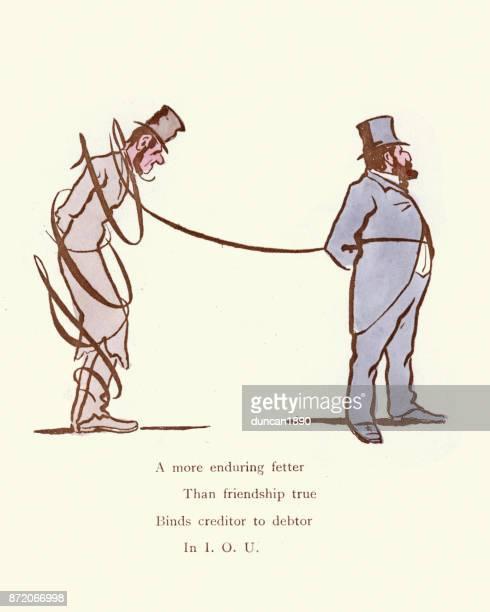 Victorian satirical cartoon Creditor and Debtor