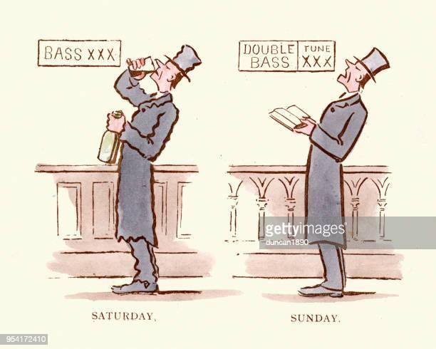 ilustraciones, imágenes clip art, dibujos animados e iconos de stock de victoriana historieta satírica, indulgencia y abstinencia, bebidas de sábado, el domingo canta - sábado