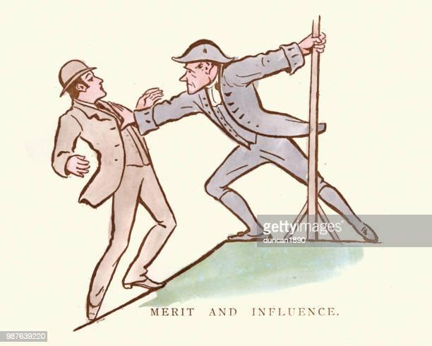 ilustraciones, imágenes clip art, dibujos animados e iconos de stock de victoriana historieta satírica, mérito e influencia - socialismo