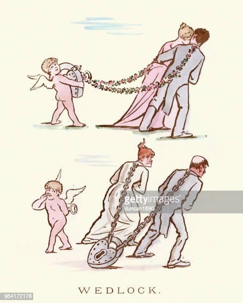 illustrations, cliparts, dessins animés et icônes de victorien caricature satirique, sur le mariage - cupidon humour