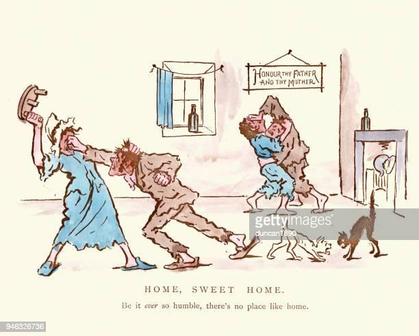 Victorian satirical cartoon on working class family life